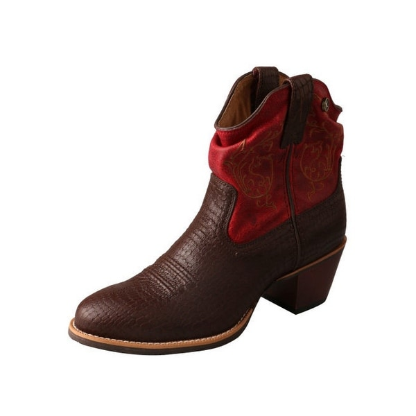 Twisted X Western Boot Womens Fashion Silver Buckle Brown Red