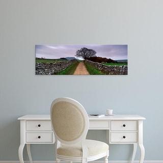 Easy Art Prints Panoramic Image 'Stone Walls Along A Path, Yorkshire Dales, England, United Kingdom' Premium Canvas Art