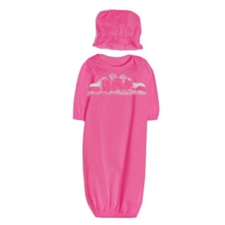 Isobella & Chloe Baby Girls Hot Pink Flower 2 Pc Bonnet Layette Set Newborn