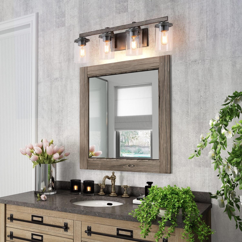 Farmhouse 3 4 Lights Bathroom Vanity Lighting Wall Lights Rustic Wall Sconces On Sale Overstock 24095617