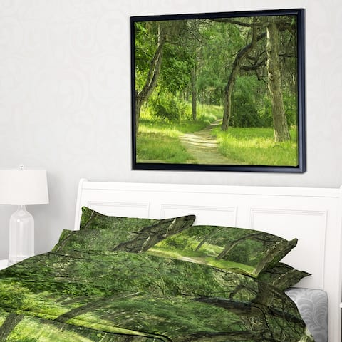 Designart 'Green Forest Path in Early Summer' Landscape Photography Framed Canvas Print