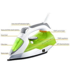 ZZ ES23311 Advantage Steam Iron Motion-Activated 1400-Watt Auto-Off, White/Green