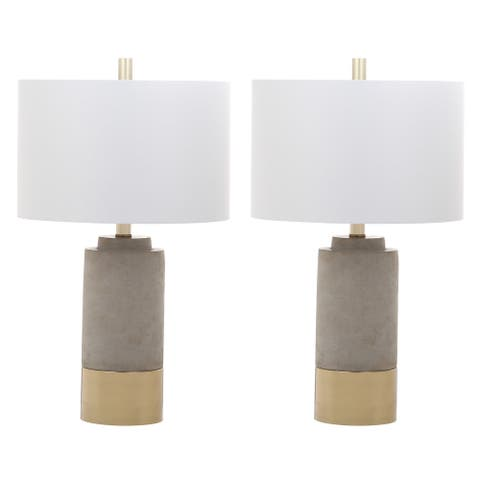 "Safavieh Lighting 24-inch GreyTable Lamps (Set of 2) - 14"" x 14"" x 24"""