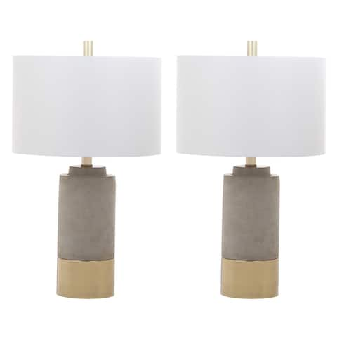 "Safavieh Lighting 24-inch GreyTable Lamps (Set of 2) - 14"" x 14"" x 24"""