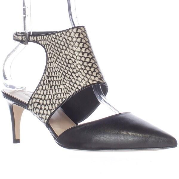 Nine West Salinda Pointed-Toe Ankle Strap Heels, Black/White/Black - 7 us