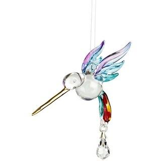 Woodstock Chimes Fantasy Glass Hummingbird Suncatcher, Summer Rainbow