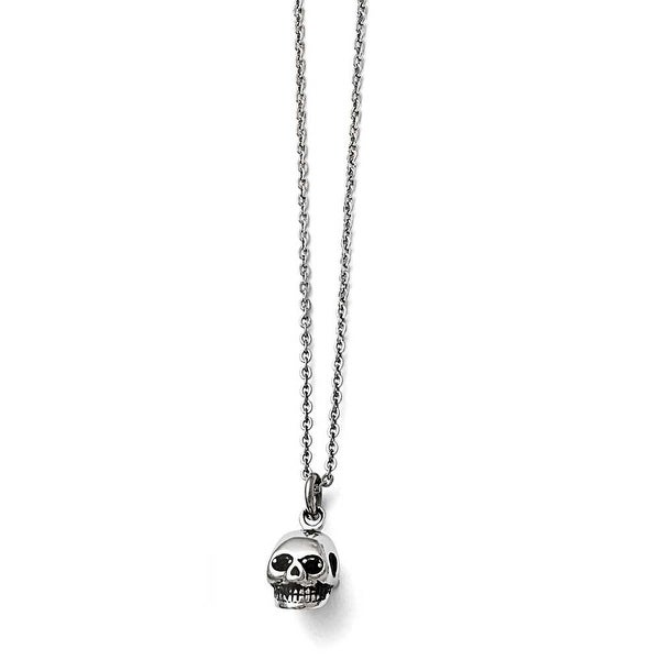 Chisel Stainless Steel Polished and Antiqued Skull Necklace - 19 in