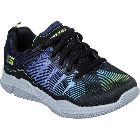 Skechers Boys' Intersectors Sneaker Black/Blue/Lime