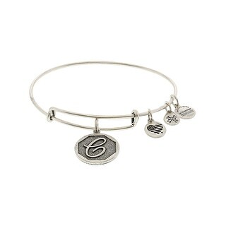 "Alex And Ani Women's Initial C Bangle Bracelet - 9"" - Silver"