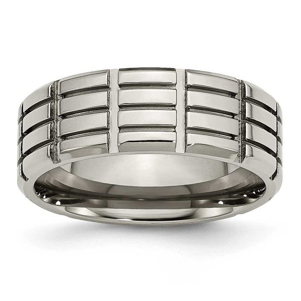 Titanium 8mm Grooved Polished Band