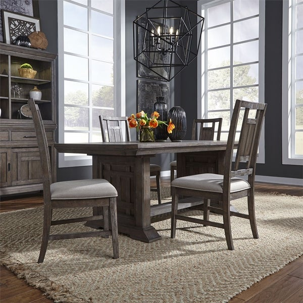Copper Grove Letampon Wire-brushed Aged Oak 5-piece Trestle Table Set. Opens flyout.