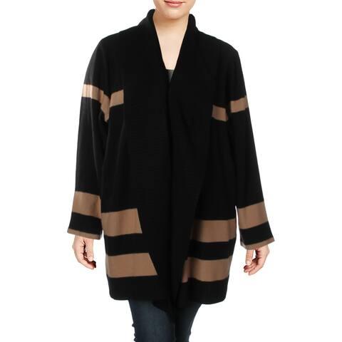 Calvin Klein Womens Plus Cardigan Sweater Striped Long