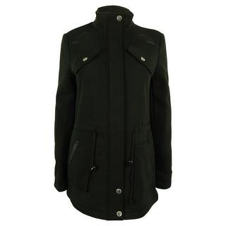 Jou Jou Women's Faux-Leather Trim Drawstring Jacket