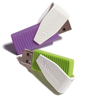 Verbatim 16Gb Store 'N' Go Swivel Usb Flash Drive 2-Pack, Green/Violet 98425