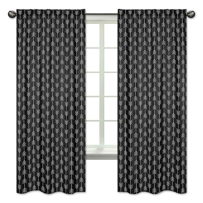 Black and White Arrow Collection 84-inch Window Treatment Curtain Panel Pair - Woodland Rustic Country Farmhouse Lumberjack