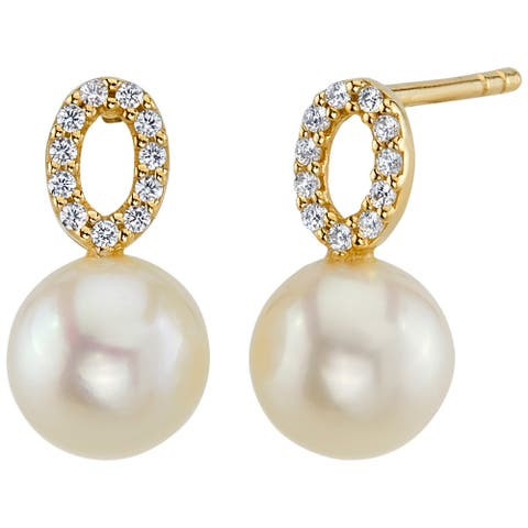 14K Yellow Gold Freshwater Pearl Open Solitaire Stud Earrings