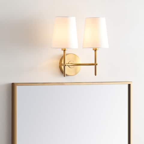 "Safavieh Lighting Barrett Two Light LED Wall Sconce - 12.3""x7.5""x12"""