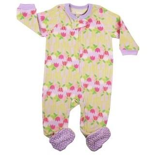 Elowel Baby Girls Yellow Pink Flower Print Footed Fleece Sleeper Pajama