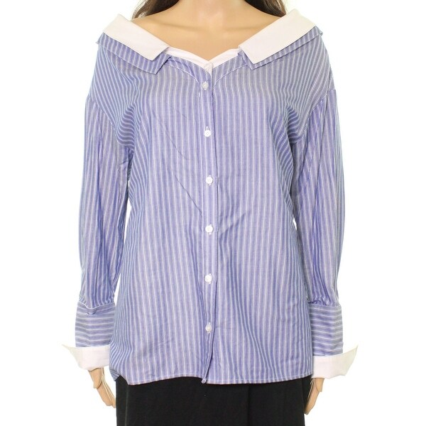 6f0aaa6f Shop Ro & De Blue White Womens Size Medium M Striped Button Down Shirt - Free  Shipping On Orders Over $45 - Overstock - 22478025