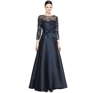 Teri Jon 3/4 Sleeve Sequined Ball Evening Gown Dress Sapphire