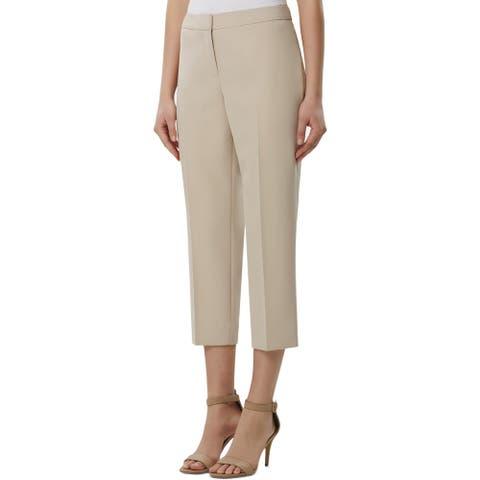 Tahari ASL Womens Cropped Pants High Rise Straight Leg - Stone