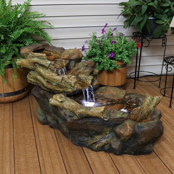 Sunnydaze Rocky Falls Streaming River Outdoor Water Fountain with LEDs - 40-Inch