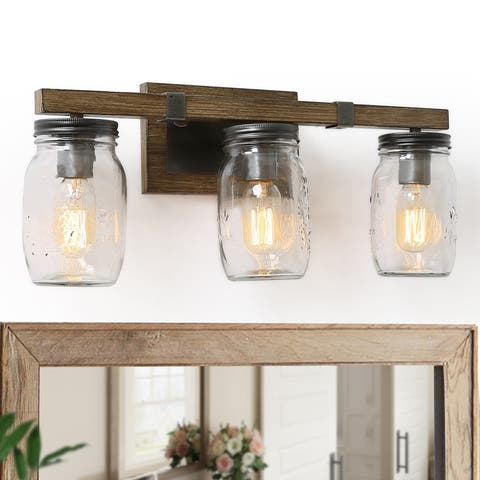 "Modern Farmhouse 3-Light Bathroom Vanity Light Mason Jars Wall Lights - 21""L x 9""H"