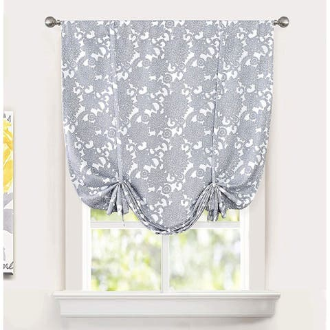 DriftAway Daisy Dahlia Blooming Floral Patter Tie Up Curtain - 45'' Width X 63'' Length