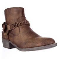 XOXO Glorius Braided Strap Ankle Booties, Tan