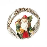 "3"" Christmas Traditions Green Santa Claus Portrait Christmas Ornament - silver"