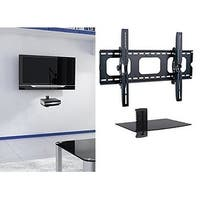 2xhome - NEW TV Wall Mount Bracket & Single Shelf Package - Secure LED LCD Plasma Smart 3D WiFi Flat Panel Screen Monitor