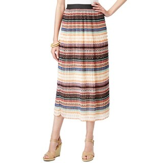 NY Collection Geometric Striped Elastic Waist Crinkle Midi Skirt - L