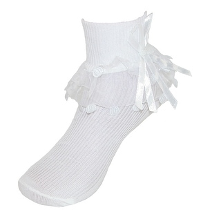 CTM® Girls' Lace Ruffle Anklet Sock with Pearl Accent - White