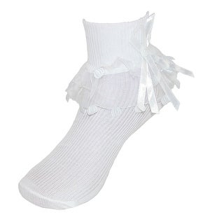 CTM® Girls' Ruffle Trim Lace Anklet Socks (3 Pair Pack) - White