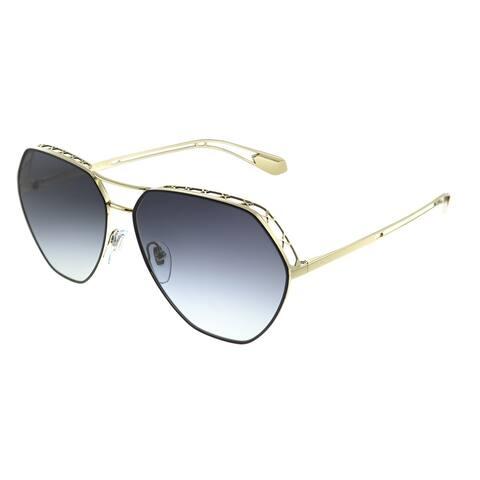 Bvlgari BV 6098 20188G Womens Black on Pale Gold Frame Grey Gradient Lens Sunglasses
