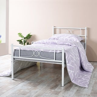 Twin Size Easy Set-up Premium Metal Bed Frame Platform Replacement Mattress Foundation with Headboard ,Under-bed Storage