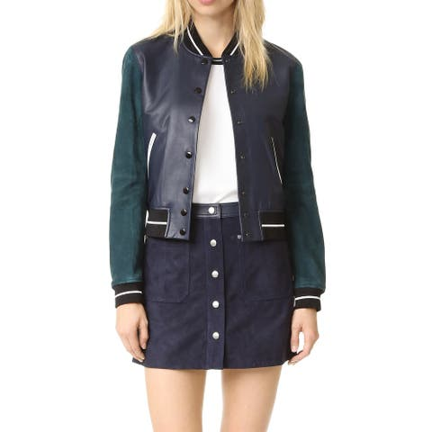 Rag & Bone Alix Navy Leather Varsity Jacket (XXS)