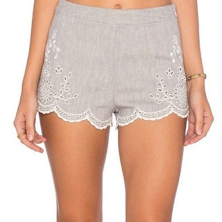 Free People NEW Gray White Womens Size 0 Embroidered-Trim Shorts