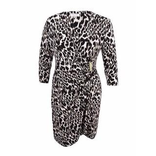 Calvin Klein Women's Plus Size Printed Faux-Wrap Dress - khaki multi