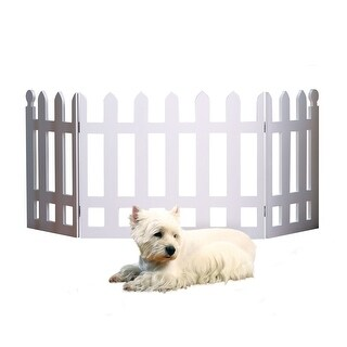 """White Picket Fence Folding Pet Gate Indoor/Outdoor - 19"""" High X 42"""" Long"""