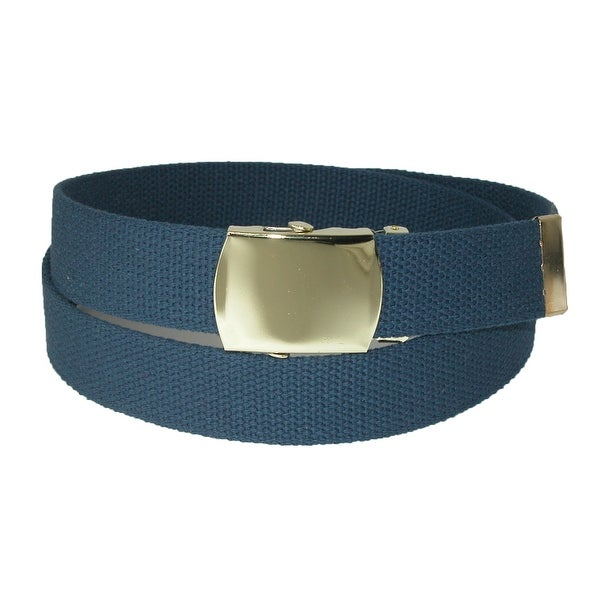 CTM® Big & Tall Cotton Adjustable Belt with Brass Buckle