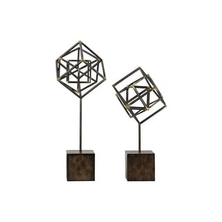 Metal Abstract Sculpture On Square Stand, Set of 2, Gunmetal Gray