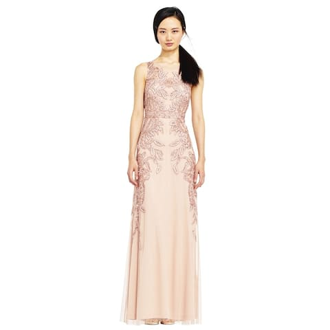 Adrianna Papell Vine Beaded Dress Illusion Back, Rose Gold, 16W
