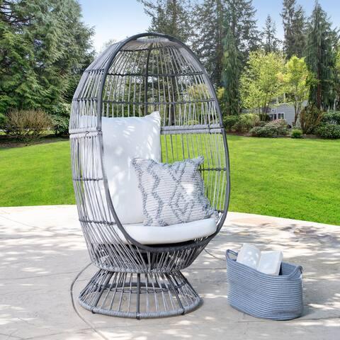 Abbyson Rio Outdoor Wicker Patio Swivel Egg Chair