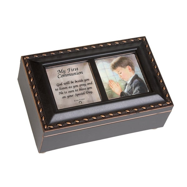 """6"""" Black and Brown Traditional First Communion Boy Religious Musical Box - N/A"""