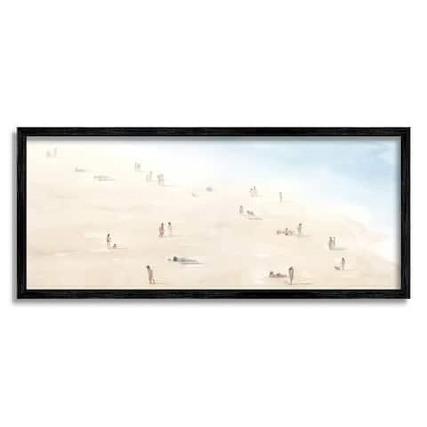 Stupell Industries Beach Goers Relaxing by Coast Nautical Landscape Framed Wall Art - Blue