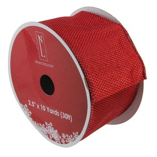 "Pack of 12 Simply Red Burlap Wired Christmas Craft Ribbon Spools - 2.5"" x 120 Yards Total"