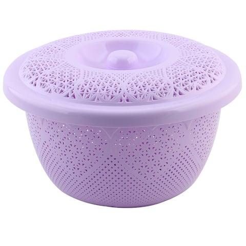 Kitchen Plastic Fruit Vegetable Washing Colander Mesh Strainer Bowl Light Purple
