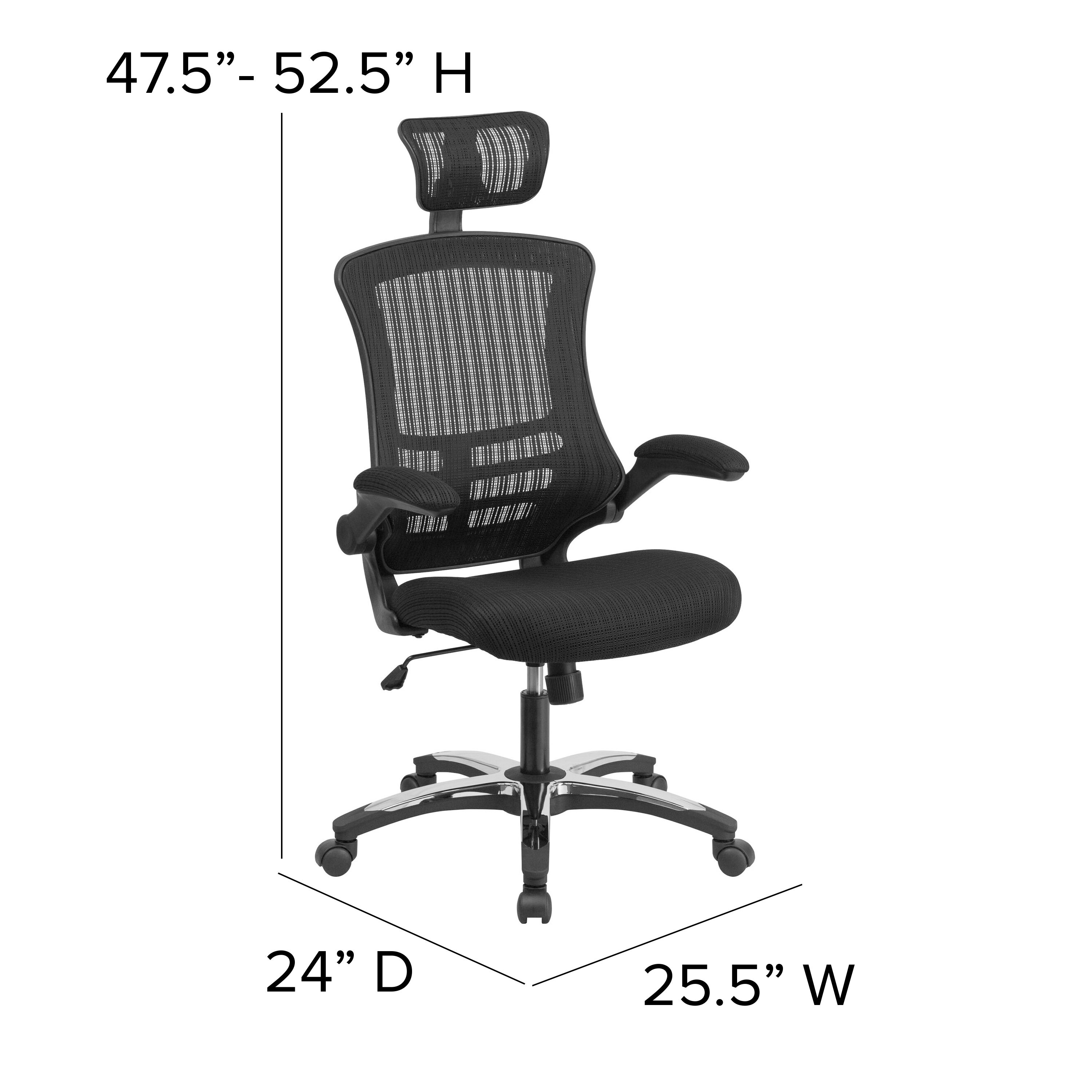 Shop High Back Mesh Executive Swivel Office Chair With Flip Up Arms And Chrome Nylon Designer Base Overstock 10605552