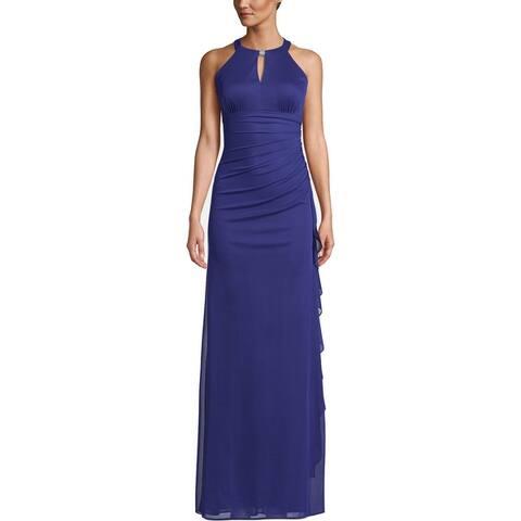 Betsy & Adam Womens Evening Dress Embellished Keyhole - Royal